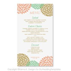 Wedding Menu Card Template - DOWNLOAD INSTANTLY - Edit Yourself - Chrysanthemum (Peach, Mint & Gold) 4 x 7 - Microsoft Word Format on Etsy, $8.00