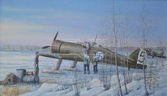 FR-92 Lentolaivue 24  Lentolaivue 24:n Fokkerit valmistautumassa lennolle talviaamuna vuonna 1940. Kuvassa luutnantti Per Soveliuksen nimikkokone FR-92.  #Fokker #TakeOff #WW2 #Jatkosota #FinnishAirForce Finnish Air Force, Defence Force, Air Planes, Ww2 Aircraft, Aviation Art, Cold War, Pretty Pictures, World War Ii, Finland