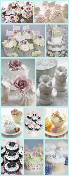 """Wedding cupcakes:without the roses and more simple, but love the pearls and little """"I do"""" flags (just for the bride and groom)"""