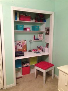 Smart use of a closet-and this could be done in a smaller room too.  :-) Closet Desk.