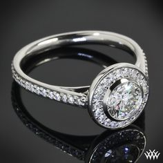 .748ct A CUT ABOVE Diamond set in Halo Bezel Diamond Engagement Ring