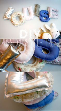 DIY coussins lettres // letter cushions by Lait Fraise Mag Great way to teach the alphabet maybe? Fabric Crafts, Sewing Crafts, Sewing Projects, Craft Projects, Sewing For Kids, Diy For Kids, Diy Bebe, Diy Letters, Fabric Letters