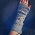 Teresa from the brilliant I Am Into This blog sporting the Liv Flyford Wrist Warmers in shale