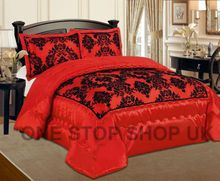 Luxurious 3 Pcs Flock Quilted Bedspread / Comforter Set - RED WITH BLACK - RV