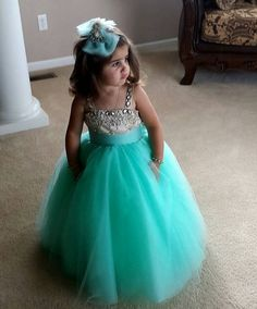 Straps Crystals Tulle Flower Girl Dress Cute Long Girl's Pageant Dress_Flower Girls Dresses_Wedding Party Dresses_Buy High Quality Dresses from Dress Factory Flower Girls, Green Flower Girl Dresses, Tulle Flower Girl, Little Girl Dresses, Dress Girl, Turquoise Flower Girl Dress, Gown Dress, Tulle Ball Gown, Ball Gowns