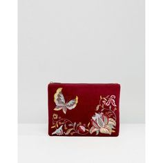 c816145f2 Shop Glamorous Velvet Zip Top Clutch With Embroidery in Burgundy at ASOS.