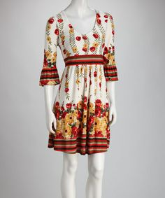 Take a look at this Red Floral Bell-Sleeve Dress - Women by Ice Silk on #zulily today!