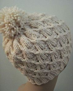 If you've always wanted to learn how to knit a hat, with this free knitting pattern for a Wickerwork Hat. Complete with an adorable yarn pom pom, this easy knit hat pattern is perfect for young and old alike. Loom Knitting, Knitting Patterns Free, Free Knitting, Sewing Patterns, Crochet Patterns, Free Pattern, Hat Patterns, Free Sewing, Easy Knit Hat