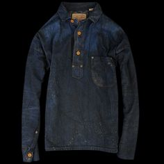 Levi's Vintage Clothing Closed Front Jumper Miner This is an exact reproduction of the first non- pant garment produced by Levi's' a heavy weight 9oz denim jumper that was originally made for hard working men of the American West during the early days of Levi Strauss & Co. The garment has exposed copper rivets placed on top of the pockets and branded sewn on buttons. Made for miners who toiled deep below ground in candle-lit shafts.