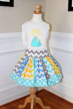 Frozen Elsa outfit  Elsa Birthday outfit girl skirt aqua, blue, yellow and gray chevron polka dot clothing chevron skirt Frozen Elsa on Etsy, $55.00