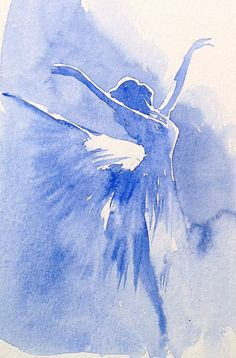 Simple Monochrome exercise of a ballerina in strong light.To achieve this, it is best to prepare thin and thick mixes of a single colour, mask out the key whites using masking fluid, then paint as quickly as possible, adding the thicker pigment for the body and legs,just as the thinner wash loses its wetness. Timing is everything! By Judith Jerams.