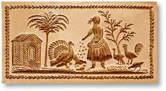 Springerle mold: Woman feeding turkeys and birds, from www.springerle.com