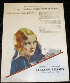 American Optical Tillyer Lense Lenses Vintage Ad 1929 Saturday Evening Post