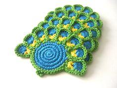 Green Blue Peafowl Crochet Coasters . Beverage Drink by MariMartin
