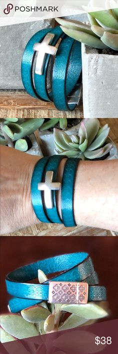 Teal Textured Leather Cross 🌿Bdevoted🌿 Bracelet Celebrate Your Savior with this Fabulous Teal Textured Leather Wrap Cross Bracelet from 🌿Bdevoted🌿! Finished with Fancy Magnetic Clasp in Euro Zamak.  Made by me for my 🌿Bdevoted🌿 Custom Jewelry Etsy Shop. For more Custom Handmade Jewelry please Follow me on Instagram at Bdevoted.  Posh ambassador  ⭐️⭐️⭐️⭐️⭐️ Rated  Only the best quality brands sold in my closet! Killer prices just for you! Thanks for Shopping By! 😇🌿♥️🙏🏻✌️😎😍…