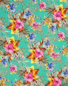 Cotton Lawn Fabric - Tropical Print Turquoise