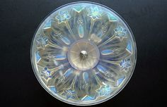 VINTAGE c.1930s EZAN FRANCE DECO OPALESCENT GLASS STYLISED FLORAL CHARGER ON CHROME STAND, SIGNED. Price: £375.00. For more information about this item click here: http://www.richardhoppe.co.uk/item.php?id=2691 or email us here: rhshopinformation@gmail.com