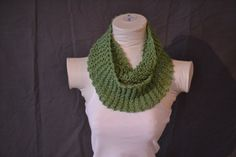Green Knitted Infinity Scarf by KnotsandBowsBoutique on Etsy