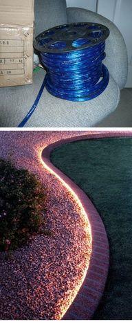 DIY :: Rope lighting around the garden