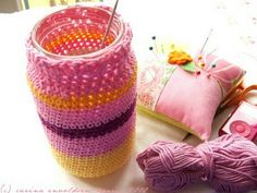 crochet jam jar cozy tutorial...love this project.  hoping if i pin enough of them i'll finally get around to doing it!