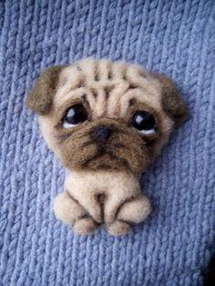 Needle Felted Animals, Felt Animals, Wet Felting, Needle Felting, Pug Art, Felt Dogs, Felting Tutorials, Felt Brooch, Felt Patterns