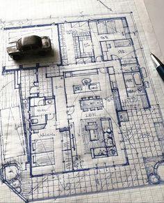 Architecture Sketchbook, Architecture Graphics, Architecture Plan, Architecture Details, Floor Plan Sketch, Civil Engineering Design, Interior Design Layout, Modern Villa Design, Plan Drawing