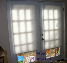 Christina from Mom's Messy Miracles gave her french doors and crisp, and safer, look with cordless cellular shades.