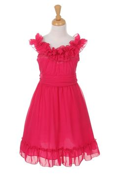 This Fuchsia Tween Dress has a neckline full of ruffles and a sash that secures the perfect fit. Simple and very pretty, suitable as Flower Girl Dresses, Year 6 Formals and Junior Bridesmaids with different colours! Chiffon Ruffle, Ruffle Dress, Chiffon Dress, Ruffles, Coral Flower Girl Dresses, Baby Girl Dresses, Dresses For Tweens, Kids Frocks, Summer Dresses