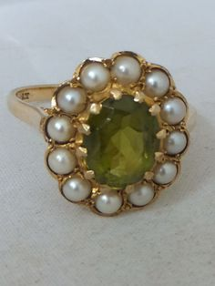 Fine Victorian Peridot & seed Pearl gold cluster ring