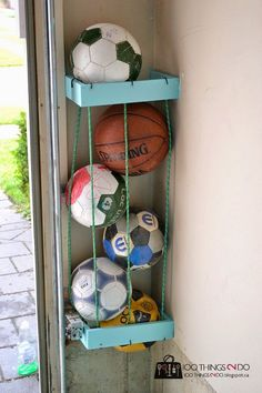 Create corner storage in the garage for all those sports balls.