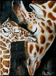 Acrylic on A2 Mothers Love, Giraffe, Artist, Painting, Animals, Felt Giraffe, Animales, Animaux, Artists