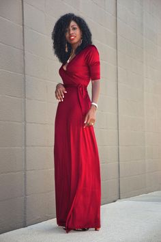 OMG, this color red is to die for. And this is a perfect wrap dress. Perfect!
