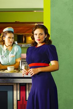 """Angie Martinelli (Lyndsy Fonseca) and Peggy Carter (Hayley Atwell), """"Marvel's Agent Carter"""""""