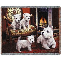 West Highland White Terrier Dogs Art Tapestry Throw