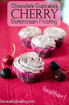 Recipe: DIY Cupcake Recipes / Chocolate Cupcakes with Cherry Buttercream Frosting Recipe (healthier) - tableFEAST Baking Cupcakes, Yummy Cupcakes, Cupcake Recipes, Cupcake Cakes, Dessert Recipes, Cup Cakes, Diy Cupcake, Vegan Cupcakes, Cherry Buttercream Frosting Recipe