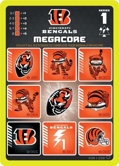 Cincinnati Bengals Megacore card powered up with all 8 PowerStickerz from the NFL RUSH ZONE Trading Card Game Kickoff Series 1  #Bengals #CincinnatiBengals #NFL #Rusher #NFLrushzone #RushZone #tradingcardgame #NFLRUSHZONETradingCardGame #superbrandnew #MattCullen