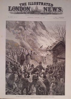 1887 PRINT RENT WAR IN IRELAND : BURNING EVICTED TENNANTS HOUSES AT GLENBEIGH