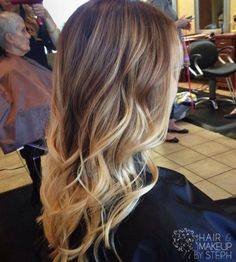 Trendy Long Brown to Blonde Ombre Hair with Waves hair hair ideas ombre hairstyles medium hairstyles hairstyles for medium length hair