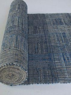 """Rafts Moon' (Moon night) by by Japanese handweaver Harue Nishikawa. Handwoven Japanese sash/belt for Kimono. via the artist's site Textile Cocoon Textile Design, Fabric Design, Pattern Design, Japanese Textiles, Japanese Fabric, Mood Indigo, Indigo Dye, Textile Texture, Weaving Textiles"