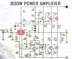 Circuit 800 Watt power amplifier OCL works with class AB, which generated power efficiency can reach 85 percent. The power amplifier circuit including amplifiers that have high output power Crown Amplifier, Hifi Amplifier, Subwoofer Speaker, Class D Amplifier, Loudspeaker, Wireless Speakers, Audiophile, Electronics Projects, Electronics Basics