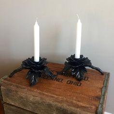 Portacandele - Portacandele in ghisa - Vintage Floral Candle titolari - neri candelieri - ferro battuto portacandele