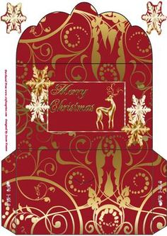 A Golden Christmas To You Money Wallet on Craftsuprint designed by Susan Heanes - A lovely Christmas Red and Gold Swirls Money Wallet. With a Co-orinating topper, with Greeting, a Gold Reign Deer and Two Tone Gold Snow Flakes. A very pretty way for giving money or vouchers at Christmas. - Now available for download!