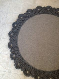 wool felt+jersey crochet trim rug made by Keren Gillan