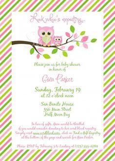 Baby Shower Invitations : Sweet Baby Shower Invites For Girls - Pink Green Gina Owl Baby Shower Invitation For Girl