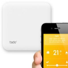 Smartphone-controlled heating:  German start-up tado...    Unlike traditional thermostats the tado device does not have a display (and only a bare minimum of buttons) but instead uses the occupants' smartphone and web capabilities to control your home's temperature levels.  Tado can turn down the AC or heat when the last person has left the house, and can make further adjustments by monitoring the online weather forecast...