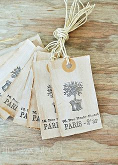 Rustic French Country Gift Tags by timewashed on Etsy. Tag Design, Label Design, Packaging Design, Card Tags, Gift Tags, Cards, Rustic French Country, Fabric Labels, Sewing Labels