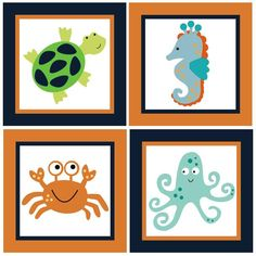 Set of 4 (Bubbles and Squirt/Sealife) 6 x 6 inch Wood Plaques So ...