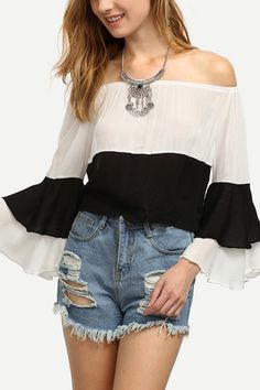 white and black = classic color  #blouse #maykool #fashion #offshoulder #flaresleeve #style