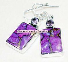 Purple Earrings | ... Earrings Silver Purple Gemstone new | Diamond Jewelry Supplies