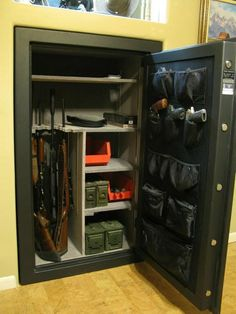 A floor safe is a reliable, resilient to the bribery safe designed to store important documentation, money, and other values. A floor safe for office. Weapon Storage, Gun Storage, Hidden Storage, Locker Storage, Storage Ideas, Revolver, Safe Room, Wall Safe, Hidden Gun